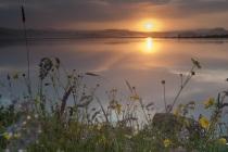 Sunrise over Benston Loch, Shetland Isles